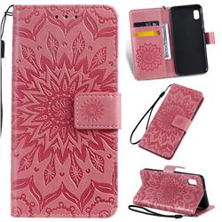 Embossing Sunflower Leather Wallet Case for Samsung Galaxy A10e - Pink
