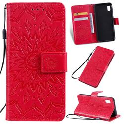Embossing Sunflower Leather Wallet Case for Samsung Galaxy A10e - Red