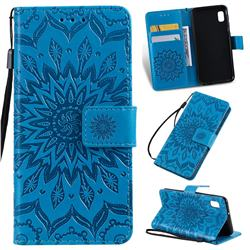 Embossing Sunflower Leather Wallet Case for Samsung Galaxy A10e - Blue