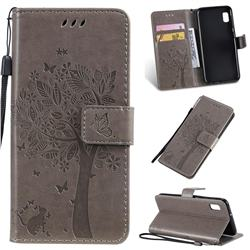 Embossing Butterfly Tree Leather Wallet Case for Samsung Galaxy A10e - Grey