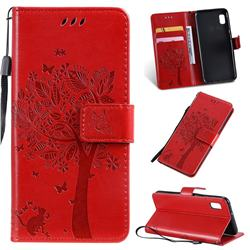 Embossing Butterfly Tree Leather Wallet Case for Samsung Galaxy A10e - Red