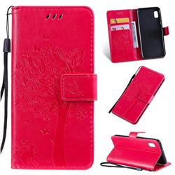Embossing Butterfly Tree Leather Wallet Case for Samsung Galaxy A10e - Rose