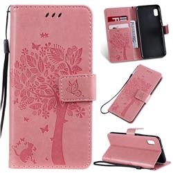 Embossing Butterfly Tree Leather Wallet Case for Samsung Galaxy A10e - Pink