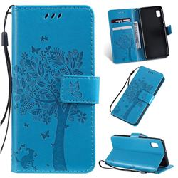 Embossing Butterfly Tree Leather Wallet Case for Samsung Galaxy A10e - Blue