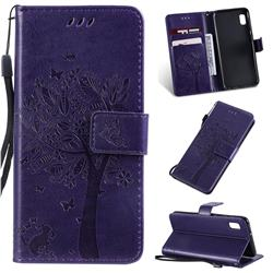 Embossing Butterfly Tree Leather Wallet Case for Samsung Galaxy A10e - Purple