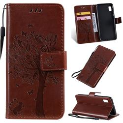 Embossing Butterfly Tree Leather Wallet Case for Samsung Galaxy A10e - Coffee