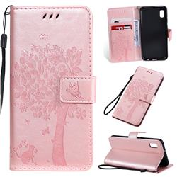Embossing Butterfly Tree Leather Wallet Case for Samsung Galaxy A10e - Rose Pink