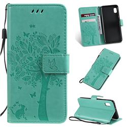 Embossing Butterfly Tree Leather Wallet Case for Samsung Galaxy A10e - Cyan