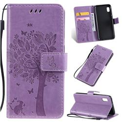 Embossing Butterfly Tree Leather Wallet Case for Samsung Galaxy A10e - Violet