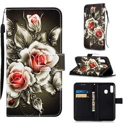 Black Rose Matte Leather Wallet Phone Case for Samsung Galaxy A10e