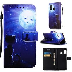Cat and Moon Matte Leather Wallet Phone Case for Samsung Galaxy A10e