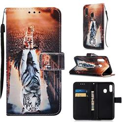 Cat and Tiger Matte Leather Wallet Phone Case for Samsung Galaxy A10e