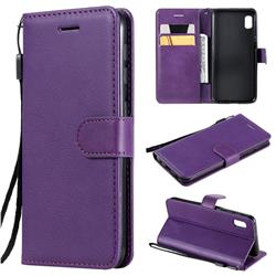 Retro Greek Classic Smooth PU Leather Wallet Phone Case for Samsung Galaxy A10e - Purple