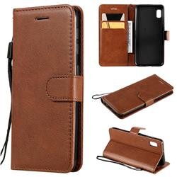 Retro Greek Classic Smooth PU Leather Wallet Phone Case for Samsung Galaxy A10e - Brown