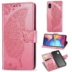 Embossing Mandala Flower Butterfly Leather Wallet Case for Samsung Galaxy A10e - Pink