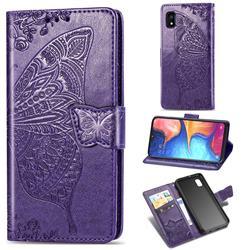 Embossing Mandala Flower Butterfly Leather Wallet Case for Samsung Galaxy A10e - Dark Purple