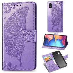 Embossing Mandala Flower Butterfly Leather Wallet Case for Samsung Galaxy A10e - Light Purple