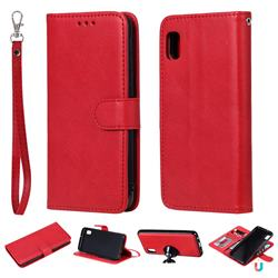 Retro Greek Detachable Magnetic PU Leather Wallet Phone Case for Samsung Galaxy A10e - Red