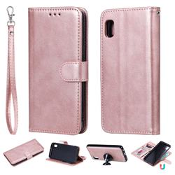 Retro Greek Detachable Magnetic PU Leather Wallet Phone Case for Samsung Galaxy A10e - Rose Gold