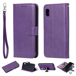 Retro Greek Detachable Magnetic PU Leather Wallet Phone Case for Samsung Galaxy A10e - Purple