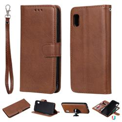 Retro Greek Detachable Magnetic PU Leather Wallet Phone Case for Samsung Galaxy A10e - Brown