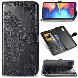 Embossing Imprint Mandala Flower Leather Wallet Case for Samsung Galaxy A10e - Black