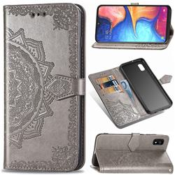 Embossing Imprint Mandala Flower Leather Wallet Case for Samsung Galaxy A10e - Gray