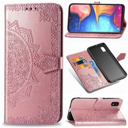 Embossing Imprint Mandala Flower Leather Wallet Case for Samsung Galaxy A10e - Rose Gold