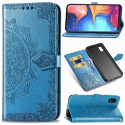 Embossing Imprint Mandala Flower Leather Wallet Case for Samsung Galaxy A10e - Blue