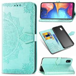 Embossing Imprint Mandala Flower Leather Wallet Case for Samsung Galaxy A10e - Green