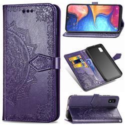 Embossing Imprint Mandala Flower Leather Wallet Case for Samsung Galaxy A10e - Purple