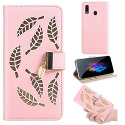 Hollow Leaves Phone Wallet Case for Samsung Galaxy A10e - Pink