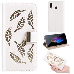 Hollow Leaves Phone Wallet Case for Samsung Galaxy A10e - Creamy White
