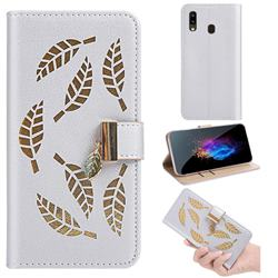 Hollow Leaves Phone Wallet Case for Samsung Galaxy A10e - Silver