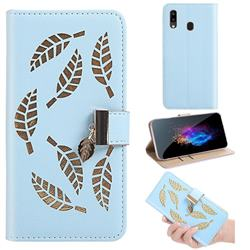Hollow Leaves Phone Wallet Case for Samsung Galaxy A10e - Blue