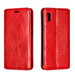 Retro Slim Magnetic Crazy Horse PU Leather Wallet Case for Samsung Galaxy A10e - Red