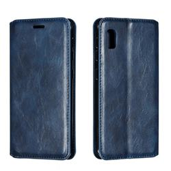 Retro Slim Magnetic Crazy Horse PU Leather Wallet Case for Samsung Galaxy A10e - Blue