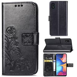 Embossing Imprint Four-Leaf Clover Leather Wallet Case for Samsung Galaxy A10e - Black
