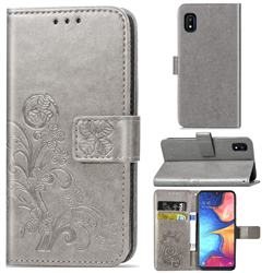 Embossing Imprint Four-Leaf Clover Leather Wallet Case for Samsung Galaxy A10e - Grey