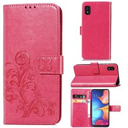 Embossing Imprint Four-Leaf Clover Leather Wallet Case for Samsung Galaxy A10e - Rose Red