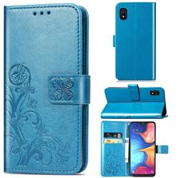 Embossing Imprint Four-Leaf Clover Leather Wallet Case for Samsung Galaxy A10e - Blue