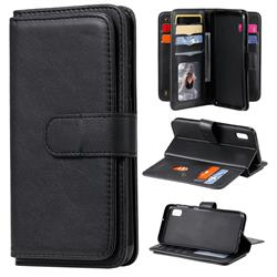 Multi-function Ten Card Slots and Photo Frame PU Leather Wallet Phone Case Cover for Samsung Galaxy A10e - Black