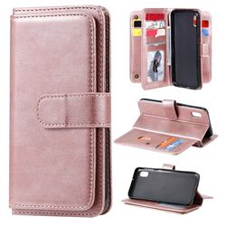 Multi-function Ten Card Slots and Photo Frame PU Leather Wallet Phone Case Cover for Samsung Galaxy A10e - Rose Gold