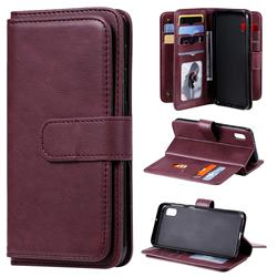 Multi-function Ten Card Slots and Photo Frame PU Leather Wallet Phone Case Cover for Samsung Galaxy A10e - Claret