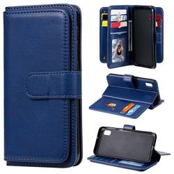 Multi-function Ten Card Slots and Photo Frame PU Leather Wallet Phone Case Cover for Samsung Galaxy A10e - Dark Blue