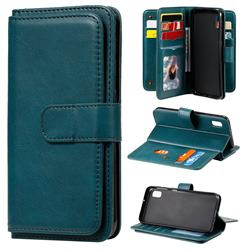 Multi-function Ten Card Slots and Photo Frame PU Leather Wallet Phone Case Cover for Samsung Galaxy A10e - Dark Green