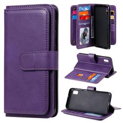 Multi-function Ten Card Slots and Photo Frame PU Leather Wallet Phone Case Cover for Samsung Galaxy A10e - Violet