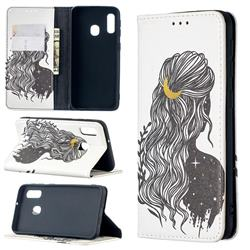 Girl with Long Hair Slim Magnetic Attraction Wallet Flip Cover for Samsung Galaxy A10e