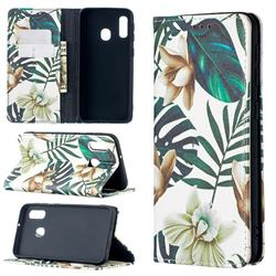 Flower Leaf Slim Magnetic Attraction Wallet Flip Cover for Samsung Galaxy A10e