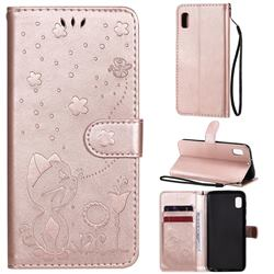 Embossing Bee and Cat Leather Wallet Case for Samsung Galaxy A10e - Rose Gold